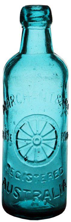Marchant & Co., Australia. Wheel trade mark. (Hendrickson glass works - teal coloured). 26 oz
