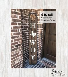 Texas Howdy Sign State Wood Sign Wood Porch Sign Reclaimed