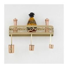 Hi-Lite Napa Wall Mounted Pot Rack Accent Finish: Copper Accents, Copper Insert: No, Base Finish: Black Leather