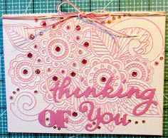 Used a Darice embossing folder 4 different ways.  I embossed on color core cardstock and sanded.  Dies are HOTP