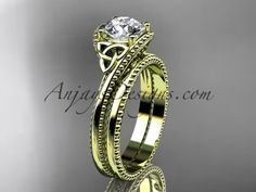 "14kt yellow gold celtic trinity knot wedding ring, engagement set with a ""Forever One"" Moissanite center stone CT7322S"