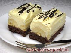 Banános-krémes túrós szelet • Recept | szakacsreceptek.hu