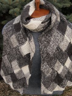Hand Knit  Noro Entrelac Scarf Wrap Black Gray by IndigoKittyKnits, $45.00