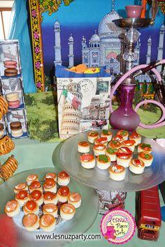 Mesa dulce merienda temática de Viajes - Dessert table Voyages themed