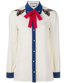 GUCCI Bee Embroidered Silk Shirt. #gucci #cloth #