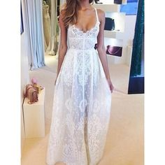 $25.34 Sexy Style Spaghetti Strap Lace Embroidery See-Through Women's Maxi Dress