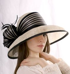 Elegant Cream Ivory natural color with black extra wide brim Royal Ascot hat, Kentucky derby, Melbourne cup hat. This wide brim hat will