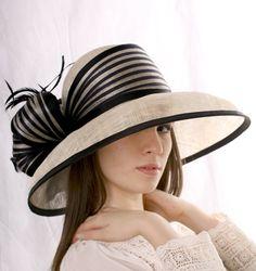 Ivoire avec chapeau noir widebrim chapeau chapeau de soleil