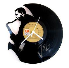 Vinyl clock Jazz Saxo