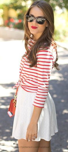 SO cute for summer/any patriotic holiday. love the red lips.