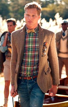 Perfect for that not-winter-anymore but not-summer-either day!  Tweed jacket paired with a spring plaid shirt.  Well done.