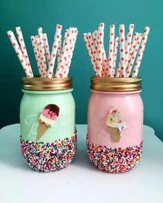 Mint and Pink Ice Cream Party Mason Jars with Sprinkles