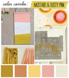 Yellow seems to be a really common accent colour with pink & grey. It really brings it to life (and reminds me of you - think it's your yellow scarf!)