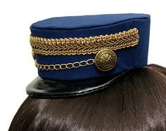 3f2effaa20a Dark Blue and Gold Gothic and Lolita Mini Train Conductor Hat - Made to  Order