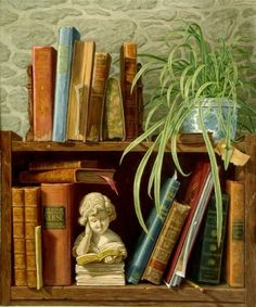 Some old books, a floppy plant, and a little cherub figurine with a book in hand.