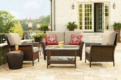 Patio Furniture Clearance Deep Seat W Cushions Family Set 4 pc Outdoor Sets Sale #Unbranded