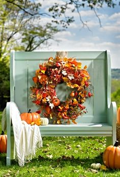 Our New Harvest Moon Garland, Swag, Wreath, and Urn Filler look as real as if you had gathered the colorful leaves, gourds, and pinecones yourself.