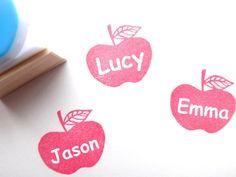 Custom stamp Apple teacher Rubber stamp by JapaneseRubberStamps