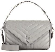 2fe27bcf5e Saint Laurent Monogram Large leather shoulder bag Couro Cinza