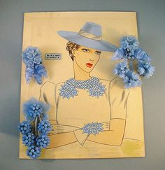 Larry Austin original watercolor advertising illustration for Haskell bracelet and clip/necklace of pastel blue glass leaves and beads, marked in pencil on the back.
