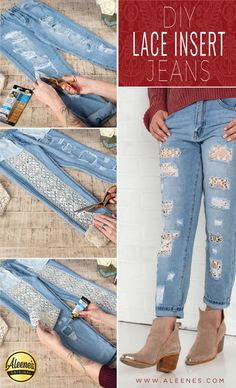 Upcycle Your Jeans with Easy Lace Inserts! Diy Lace Jeans, Diy Clothes Videos, Patched Jeans, Kurta Designs, Lace Insert, Refashion, Glue Crafts, Paper Crafts, Fabric Crafts