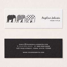 Elephants Fashion Stylish Pattern Black White Chic Mini Business Card - pattern sample design template diy cyo customize