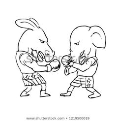 Donkey and Elephant Boxers Black and by patrimonio on Illustration graphics showing a drawing of a donkey boxer and a elephant fighting in a boxing match wearing American stars and stripes shorts on white background done in black and white. Free Illustrations, Donkey, Caricature, Boxing, Royalty Free Stock Photos, Elephant, Stripes, Graphics, Black And White
