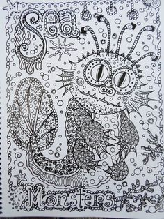 Shop for art on Etsy, the place to express your creativity through the buying and selling of handmade and vintage goods. Free Adult Coloring, Printable Adult Coloring Pages, Abstract Coloring Pages, Coloring Book Pages, Sea Colour, To Color, Zen Colors, Doodle Coloring, Color Me Beautiful