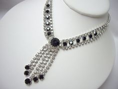 Elegant Vintage Black and White Rhinestone Bib Drop Dangle Lavalier Necklace by YourVintageDesires, $30.00