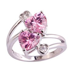 Heart Pink & White Quartz Ring