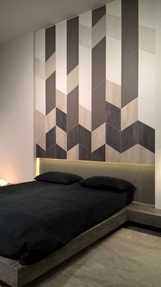 Master bedroom remodel: A great tip is to try using a number of patterns or textures in every single room. These patterns will help enliven the attention and add interest to otherwise boring items. Tile Bedroom, Bedroom Wall Designs, Accent Wall Bedroom, Bedroom Colors, Master Bedroom, Master Suite, Bed Back Design, Bed Design, Romantic Bedroom Decor