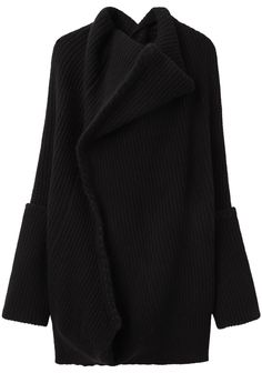 YOHJI YAMAMOTO, BLANKET STITCH KNIT: oversized everything including a giant cowl collar.