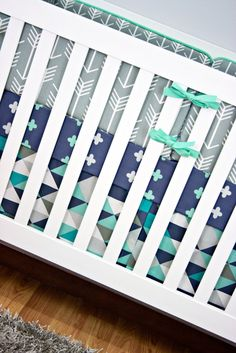 Mister Hipster Crib Bedding - Modified Tot - Gray arrows, mint and navy plus signs, and modern triangles crib skirt.