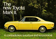 Toyota Corona Mark 2, MkI, Hardtop, 1970 Brochure, from 1968 to 1972, choice of 1500cc, 1600cc, 1700cc, 1900cc and 2000cc 4 cylinder engines