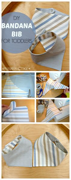 Sewing For Kids how-to make an easy BANDANA BIB - with a FREE template included! This tutorial is a perfect beginner sewing project! - This bandana bib pattern is free and an easy sewing project to sew an all-time favorite bandana bib for baby or toddler. Baby Sewing Projects, Sewing Projects For Beginners, Sewing Hacks, Sewing Tutorials, Sewing Crafts, Sewing Tips, Sewing Ideas, Dress Tutorials, Love Sewing