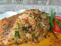 Crab-stuffed salmon. . .perfect for a romantic dinner with your boo. Doesn't seem to difficult to make too.