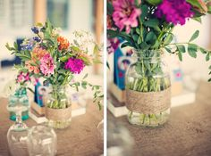 simple centerpieces with in season flowers.