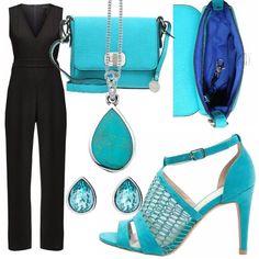 Outfit da cerimonia costituito da una tuta elegante nera che porta la schiena scoperta, arricchita da accessori che rendono colorato il tutto, come tracolla piccola, scarpe turchesi - che portano un motivo simile alle squame di una sirena - e gioielli come una collana che arricchisce il petto e orecchini. Maria Teresa, Fashion Sets, Work Attire, Jumpsuits, Outfit Ideas, Fancy, Clothing, How To Wear, Outfits
