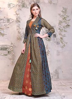 joshindia Navy Blue With Maroon Color designer Chanderi Printed Party Wear Long Kurti at joshindia Plus Size Western Wear, Western Wear For Women, Gown Dress Online, Gowns Online, Latest Party Wear Gown, Western Wear Dresses, Western Outfits, Stylish Gown, Saree Gown