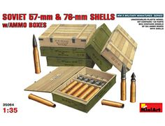 The MiniArt Soviet 75mm & 76mm Shells with Ammo Boxes in 1/35 scale from the plastic model accessories range provides a highly detailed diorama accessories perfect for use in 1/35 scale dioramas and wargames terrain.  This plastic accessories kit requires paint and glue to complete.