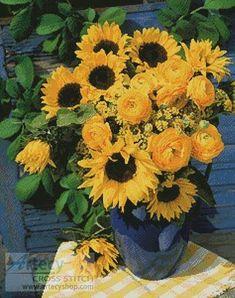 Yellow Country Flowers cross stitch pattern.