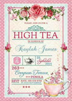 Victorian high tea party invitationssurprise party invitation high tea invitation tea party bridal shower brunch lunch flower roses birthday 30th 40th 50th 60th 70th 80th pink mint floral printable stopboris Choice Image