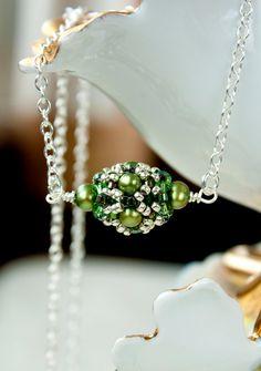 Sea Green Freshwater pearl Swarovski Crystal