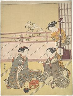 Young Women Playing Kitsune-ken (Fox Game) Suzuki Harunobu (Japanese, 1725–1770) Period: Edo period (1615–1868) Date: ca. 1768-69 Culture: Japan Medium: Polychrome woodblock print; ink and color on paper