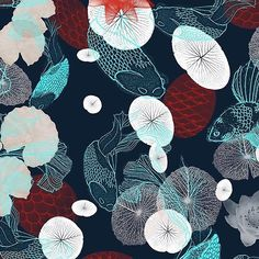 Nocturnal orient 2017-18  One of the things I most love about print, design for textiles is that I get to see what will be happening trend wise up to a year before it happens.. One trend coming up for A/W 2017-18 that stands out for me is Nocturnal Orient  A theme created and filtering down from Fashion houses such as GUCCI, PRADA and FENDI.  This is my answer to that trend  #blues #interiordesign #fish #patterndesign #newonpatternbank #n...