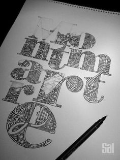 Love the idea of filling lettering with fine detailed illustration Cool Typography, Typographic Design, Typography Letters, Graphic Design Typography, Lettering Design, Inspiration Typographie, Schrift Design, Plakat Design, Graphisches Design