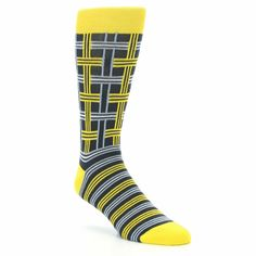 Yellow Grey Plaid Men's Dress Socks by Statement Sockwear. Every purchase of Statement Sockwear socks sold helps provide 100 days of clean water for 1 person in Africa. Fits U.S. Men's Shoe Sizes 8-12.