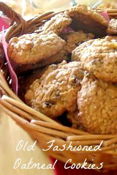 Basket of Oatmeal Cookies with Raisins