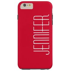 Colorful Modern Red Personalized Jumbo Name Tough iPhone 6 Plus Case 6s Plus Case, Iphone 6 Plus Case, Iphone Cases, Valentine Name, Apple Iphone 6, Colorful, Elegant, Chic, Simple