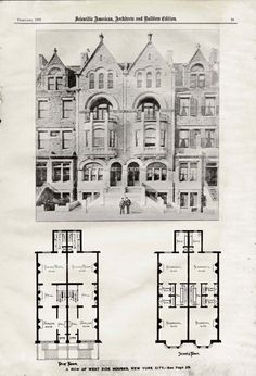 Brownstone Row Houses West Side New York USA 1893 Steampunk Vintage  Victorian Architecture Illustration For Framing